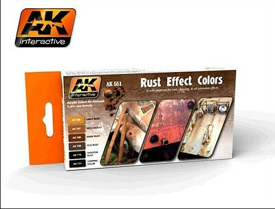 AK Interactive AK 551 Rust Effect Colors Acrylic Paint Set for Rust & Chipping