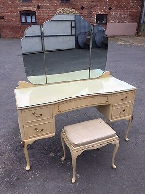 Louis Style Dressing Table With Mirrors And Stool
