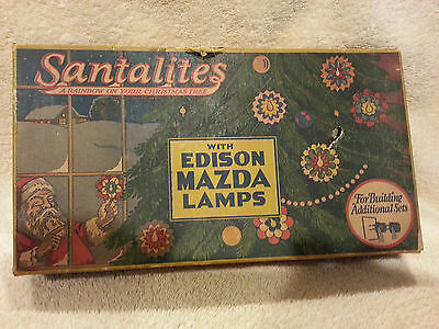 Vintage Christmas Lights Set Santalites W/Edison Mazda Lamps Works!