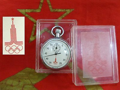 Stopwatch AGAT Olympiad Games Moscow 1980 Zlatoust Factory USSR boxSoviet Russia