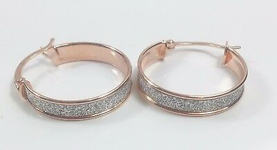 9ct rose & white gold stardust 18mm creole hoop earrings NEW