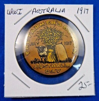Original Vintage WWI WW1 Australia Day 1917 The Farmer's Button Pin
