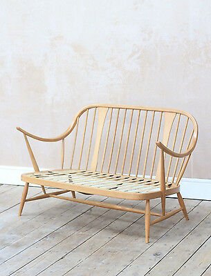 Rare Vintage Retro Mid Century Blonde Ercol Chairmakers Cowhorn 2 Seater sofa