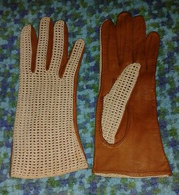 Pair of vintage retro leather and crochet driving gloves. Small ladies size.