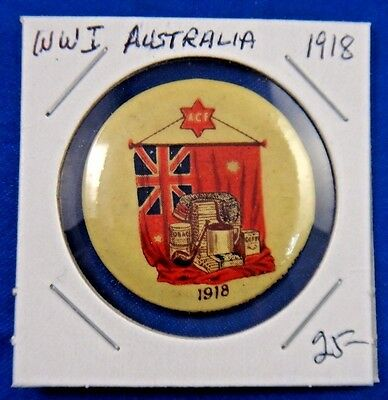 Original Vintage WWI WW1 Australia ACF 1918 Pin Pinback Button