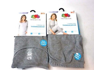 Pair of FRUIT OF THE LOOM Classic soft Thermal Wear Grey Top & Bottom  []
