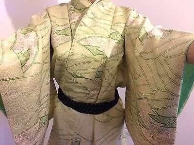 Vintage authentic handmade Japanese green silk kimono for women,good cond.(J563)