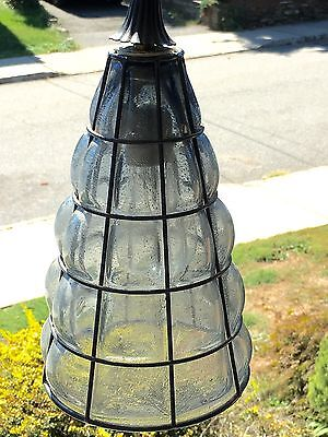 Vtg Murano Caged Cone Glass Grey Ceiling Pendant Light Midcentury Hanging Lamp.
