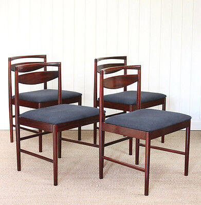 Set of 4 Vintage Retro McIntosh Upholstered Dining Chairs Mid Century Rosewood