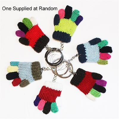 6cm Mini Knitted Multi-colour Glove Keyring Key Chain - One Supplied