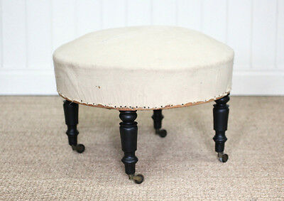 Vintage Antique French Round Footstool On Castors Upholstery Project Victorian