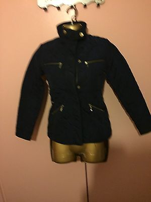Girls Zara Quilted Navy Coat Size 9-10 Years Old