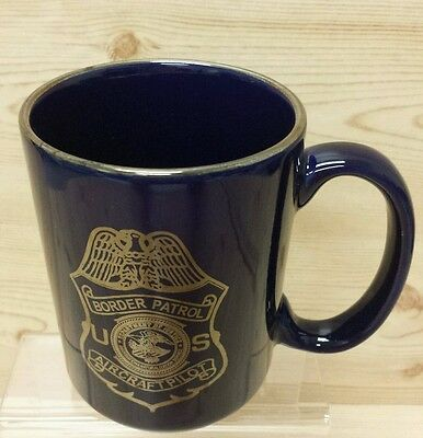 BORDER PATROL AIRCRAFT PILOT PORCELAIN COFFEE MUG BLUE with GOLD ACCENTS
