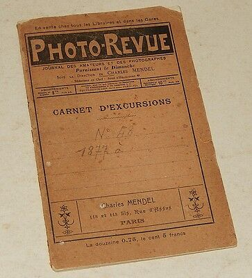 RARE CARNET d'excusions PHOTO-REVUE Charles MENDEL Notes prises de vue Plaque