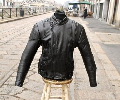 Giubbotto giacca pelle moto byker vintage anni 70 originale TG 50/52