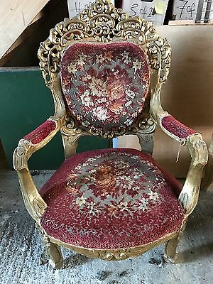 Antique Vintage Italianate Gilded Chairs X 2