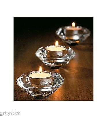 Crystal Glass Diamond Shape Tealight Votive Candle Holder