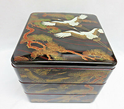 Japanese 3 Stacking Cranes Lacquer Boxes