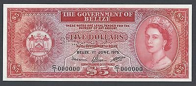 Belize 5 Dollars 1-6-1975  P35as Specimen Perforated Uncirculated