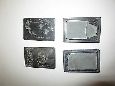 ~ 2 ~ Asian  Carved Covered  Ink Stones Calligraphy Birds Cranes Boxes Slate