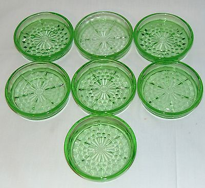 """7 Jeannette CUBE/CUBIST GREEN *3 1/4"""" COASTERS*"""