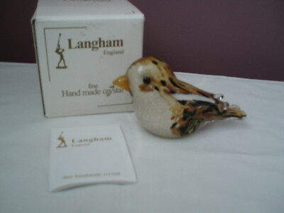 Langham Glass Fine Crystal Snow Bunting Boxed
