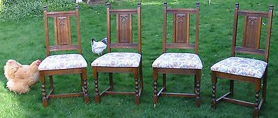 Set 4 Wood Bros Old Charm Aldeburgh Dining Chairs Chelteham Fawn Upholstery