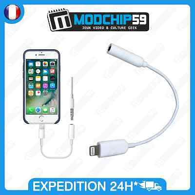 cable Lightning ADAPTATEUR vers to jack 3.5mm pour APPLE iPhone 7 / 7 plus Blanc