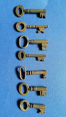 Collection of old antique vintage iron keys original 7 in total Gibbons Chubb's