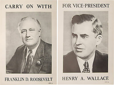 Matched pair FRANKLIN D. ROOSEVELT HENRY A. WALLACE paper campaign posters 1940