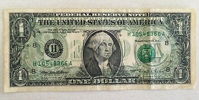 1995 Series Federal Reserve 1 Dollar Double Print Error Circulated