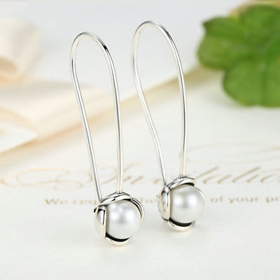 .925 Sterling Silver Freshwater Pearl Drop Chain Hook Threader Earrings Ear Stud