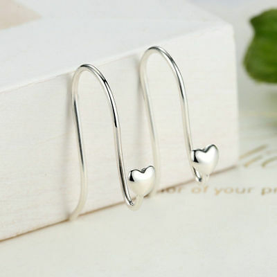 Authentic 925 Sterling Silver Heart Drop Chain Hook Threader Earrings Ear Stud