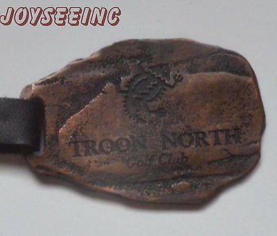 TROON NORTH GOLF CLUB Vintage Casted Antique Brass GOLF BAG TAG & LEATHER STRAP