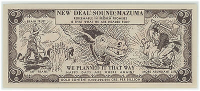Anti-FDR New Deal Franklin Roosevelt satirical facsimile currency 1936