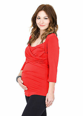 Toni™ Top 3/4 Sleeve - Breastfeeding / Pumping Top - Flame Red - Extra Large