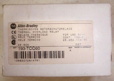 New in Box Allen Bradley Overload Relay 193-TCC60 45-60 amp Same Day Shipping