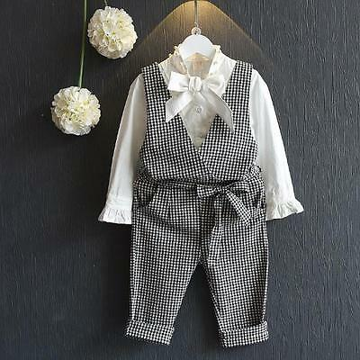 Girls Dogtooth Cheque Pants Shirt Outfit Set 2-3 3-4 4-5 5-6 6-7 Years Uk Seller