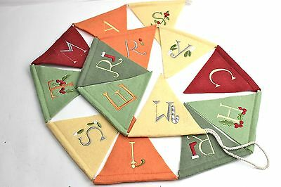 Gisela Graham Christmas Felt Fabric Embroidered Merry Christmas Bunting
