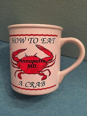 """Annapolis Maryland Souvenir Cup Mug """"HOW TO EAT A CRAB""""  5 Step Directions NWOT"""