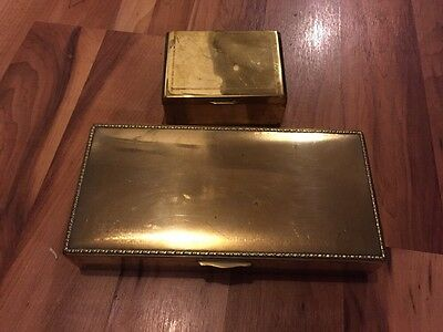 Two Lovely Vintage Brass State Express Cigarettes Boxes