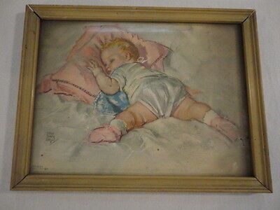 "Vintage Radio Picture Frame Company Baby Sleeping Print Framed ( 7"" X 9"" ) USA"