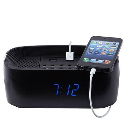 Groov-e Bluetooth Wireless Alarm Clock Radio Speaker Charger for Mobiles Black