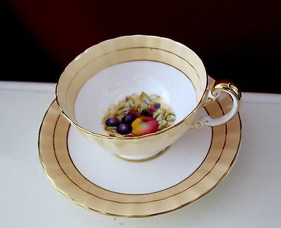AYNSLEY HAND PAINTED FRUITS ON BOTTOM TEA COFFEE CUP SAUCER ENGLAND yellow