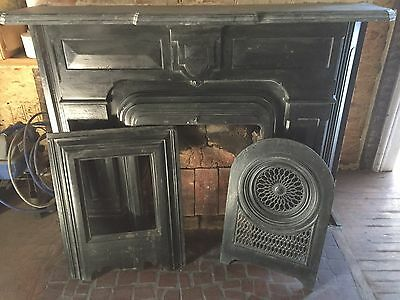 1890's Vintage Cast Iron Mantel with insert/summer cover MANTLE