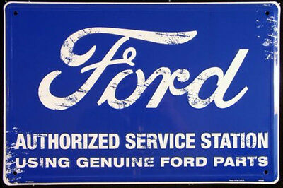 Ford Authorized Service Station Embossed Metal Sign