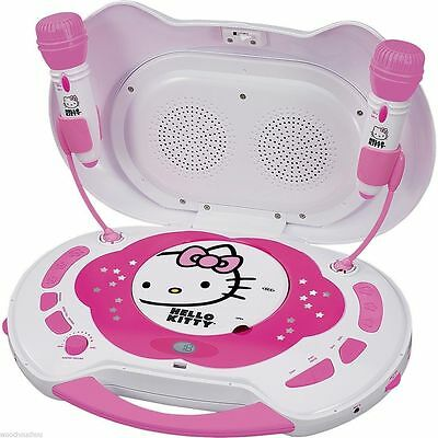 New Sealed Hello Kitty Portable Karaoke System CD Player with 2 Microphones