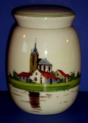 Vintage Dutch Pottery Hand Painted Covered Jar