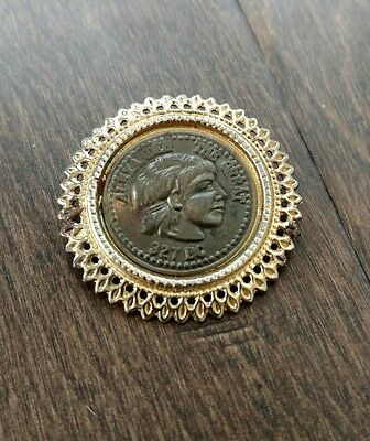 Vintage coin pin/brooch, Alexander the Great-