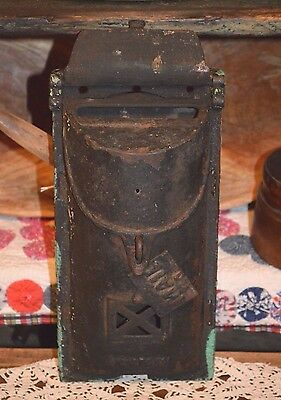 Antique Cast Iron Wall Mount Two Door Lockable Mailbox w/ Peephole & Door 1900's